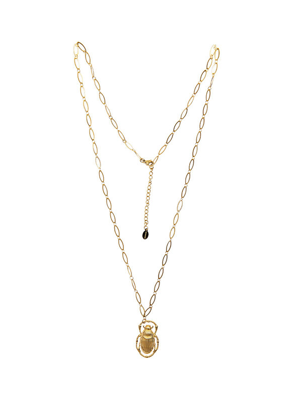 By Sara Collection Necklace Scarab Gold
