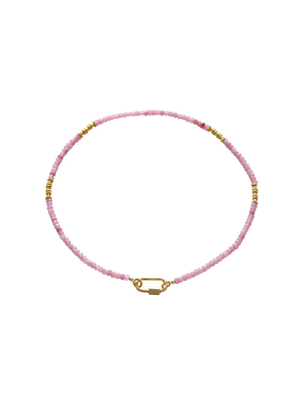 I Am Jai Necklace With Clasp For Charms Rosequartz