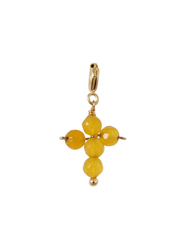 I Am Jai Charm Cross Beads Yellow Onyx