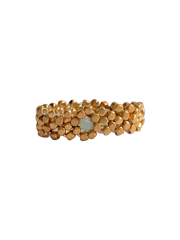 Ring Gold Weave Amazonite