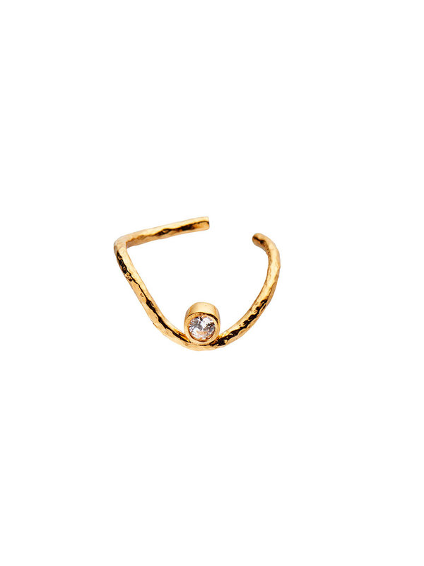 Stine A Wavy Ear Cuff Gold With Stone