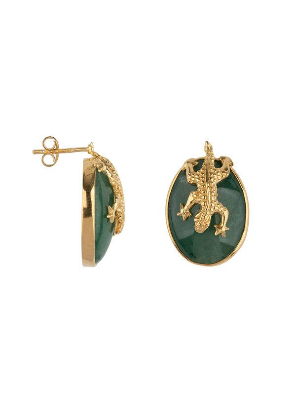 Betty Bogaers Lizard Stud Green Aventurin Earing Gold Platin