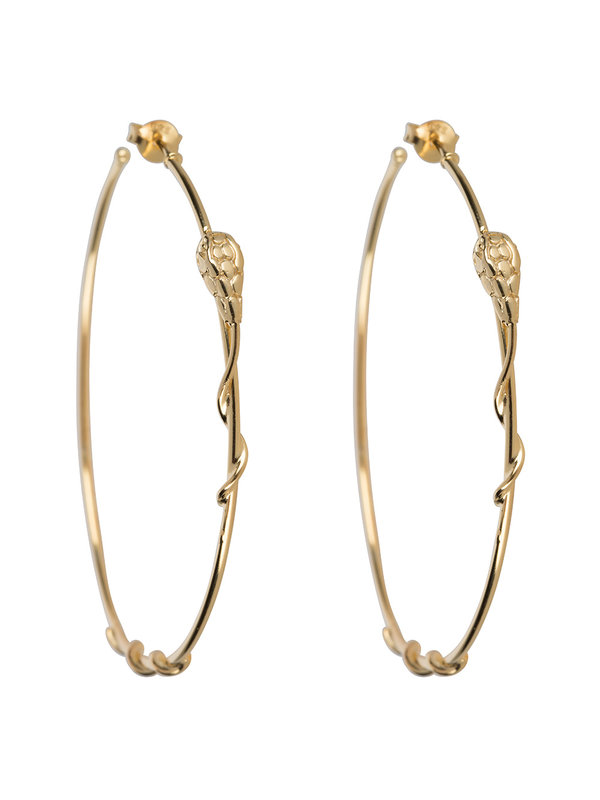 Betty Bogaers Snake Hoop Stud Earring Gold Plated
