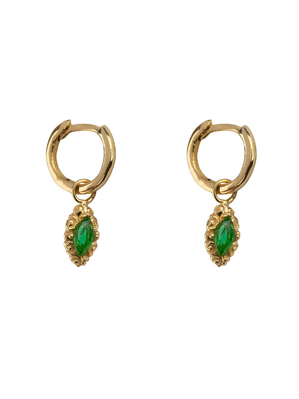 Betty Bogaers Small Hoop Antique Drop Earring Gold Plated Green
