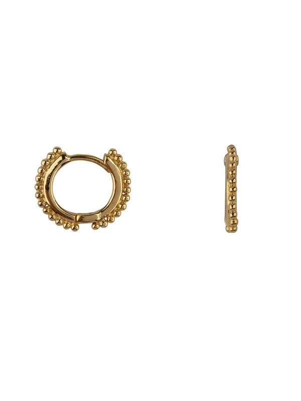 Betty Bogaers Balls on a Small Hoop Earring Gold Plated
