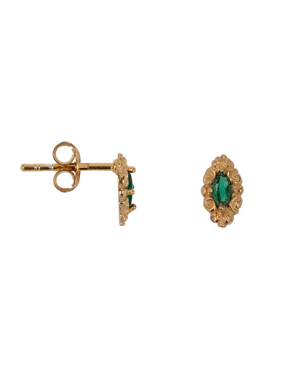 Betty Bogaers Antique Drop Stud Earring Gold Plated Green