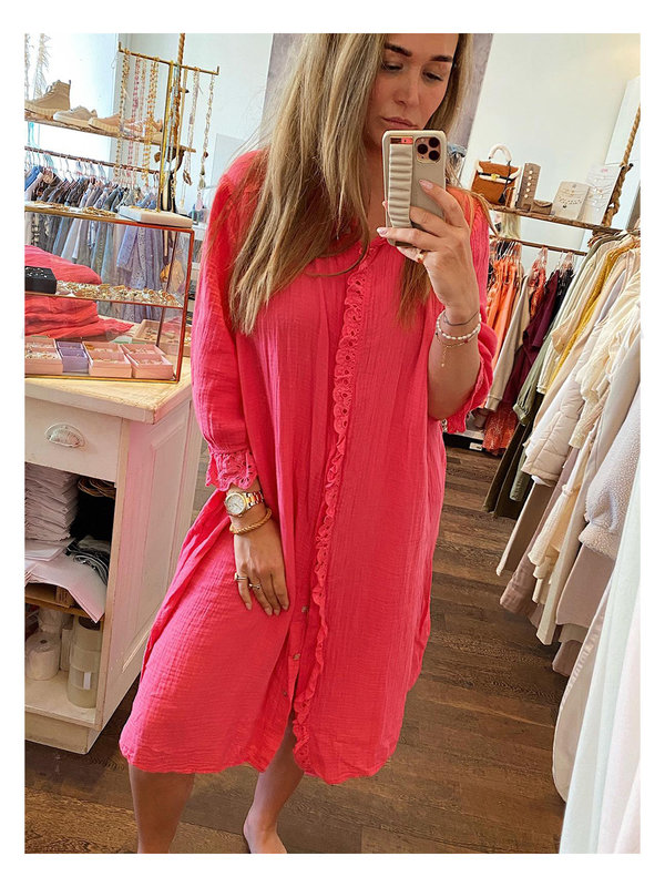By Sara Collection Sharia Broderie Dress Fuchsia