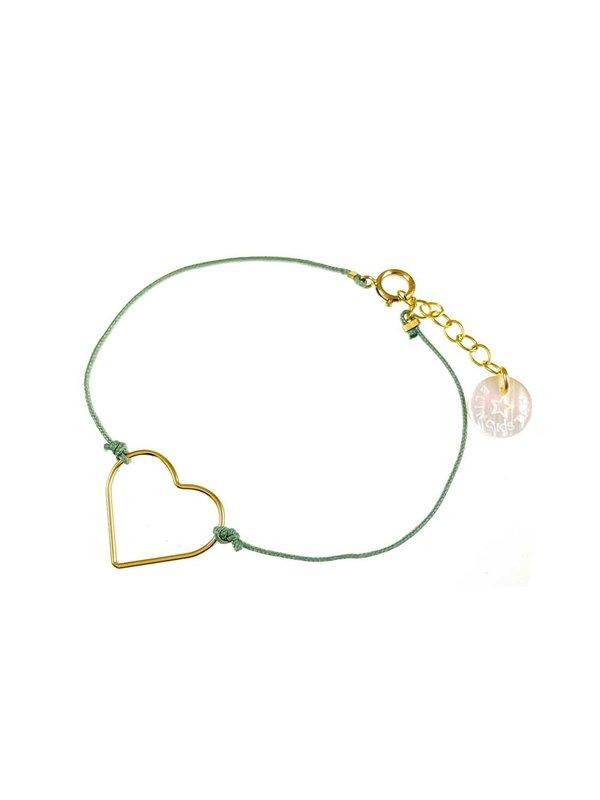 Blinckstar Bracelet Heart Sage Cord
