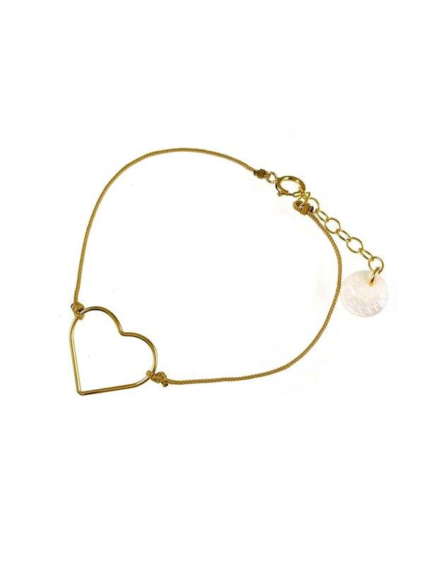 Blinckstar Bracelet Heart Tan Cord