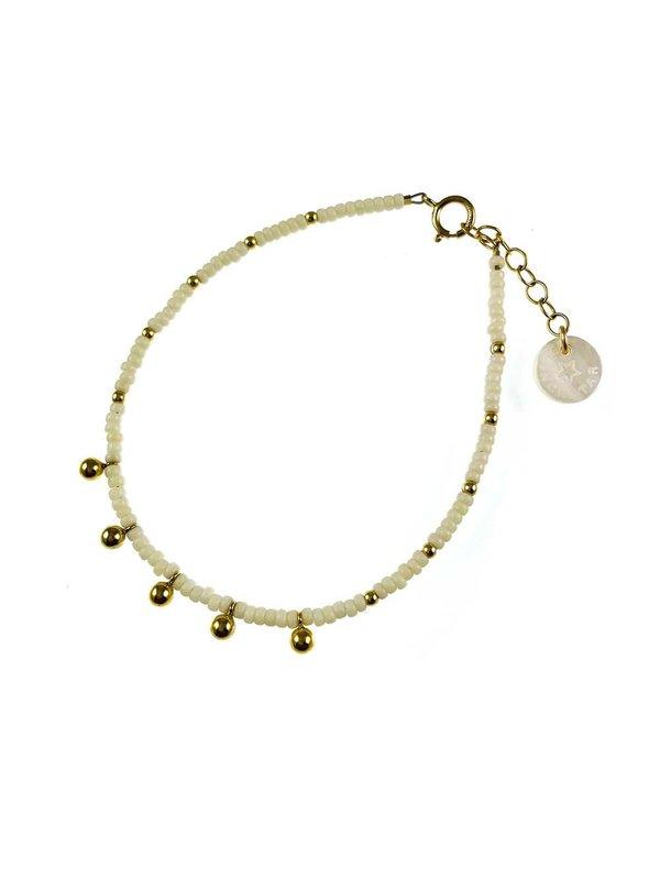 Blinckstar Bracelet Matt White Gold Filled Balls