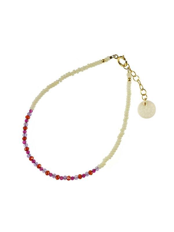 Blinckstar Bracelet Gold Filled Mat White Line of Pink Amethyst, Garnet, carnelian