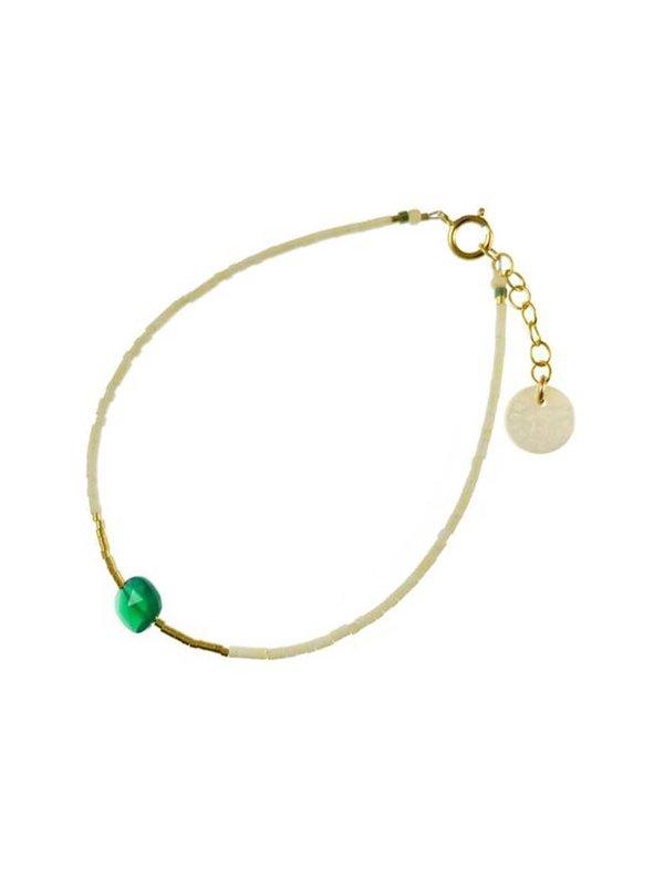 Blinckstar Bracelet Matt White Mini Beads Green Onyx Square