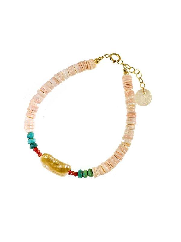 Blinckstar Bracelet Rectangle Pink Freshwater Pearl Heishi Turquoise Carnelian