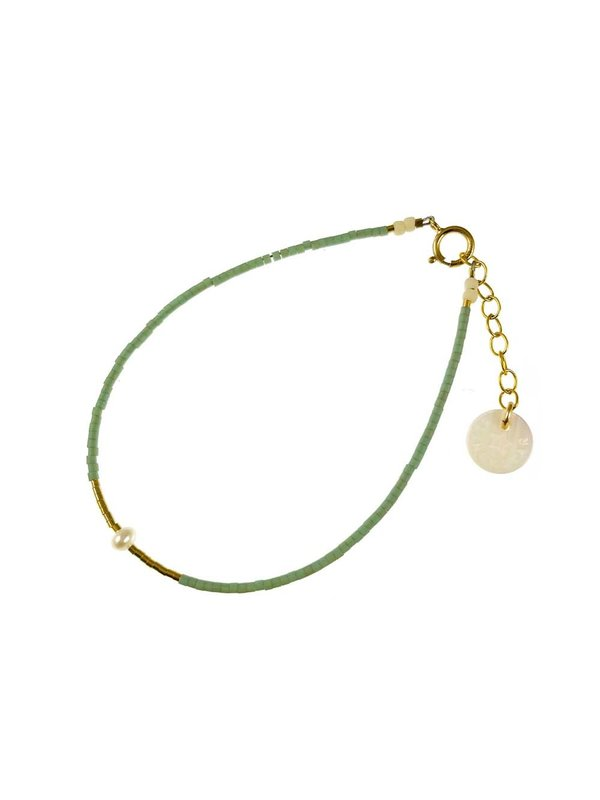 Blinckstar Bracelet Mini White Frechwater Pearl Sage Mini Matt Beads