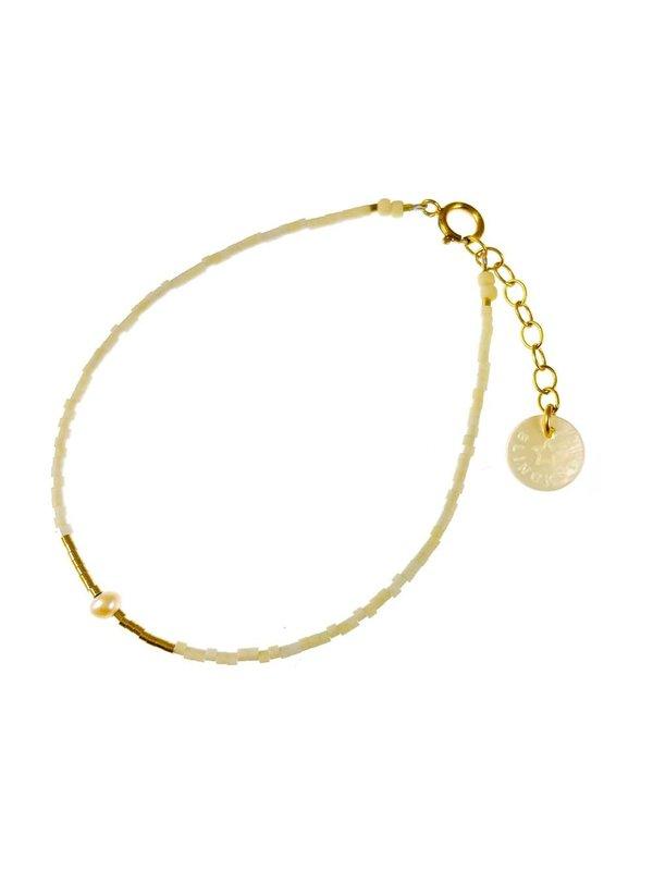 Blinckstar Bracelet Mini White Freshwater Pearl White Mini Matt Beads