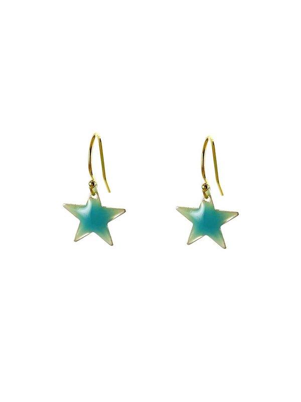 Blinckstar Oorbellen Hook Light Blue Star