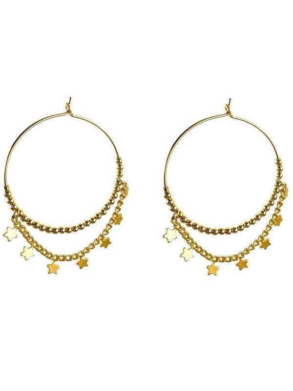 Blinckstar Oorbellen Hoop 30mm Gold Filled Balls Stars And Chain
