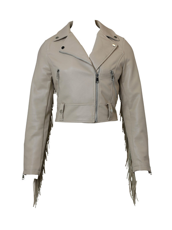 By Sara Collection Julie Fringle Jacket Beige