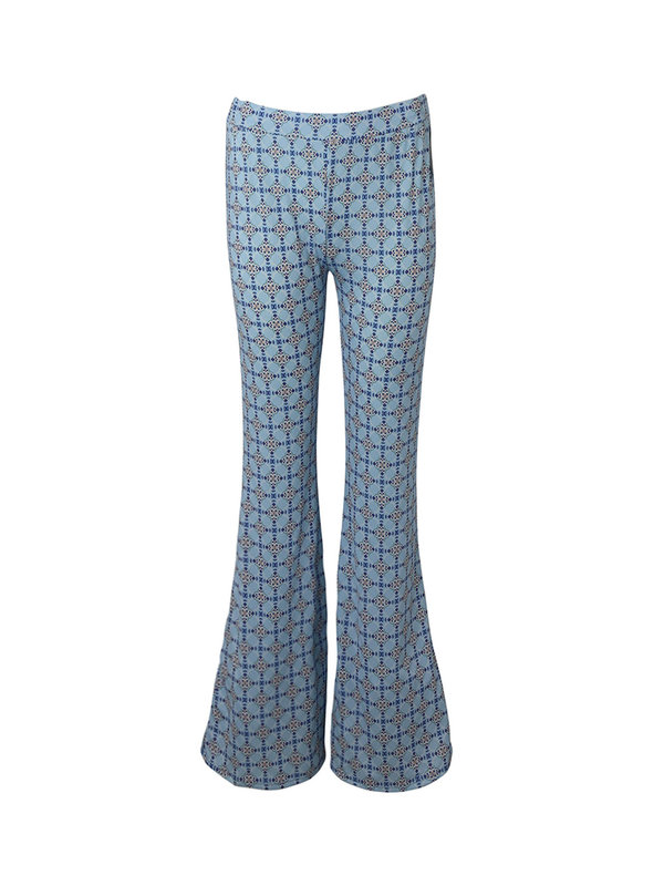 By Sara Collection Mary Blue Print Flair Pants