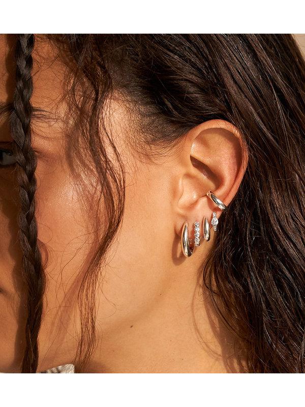 Eline Rosina Dome Ear Cuff Silver