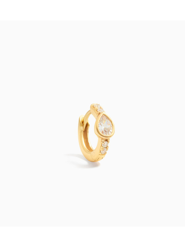 Eline Rosina Single Zirconia Drop Huggie Hoop Gold Plated