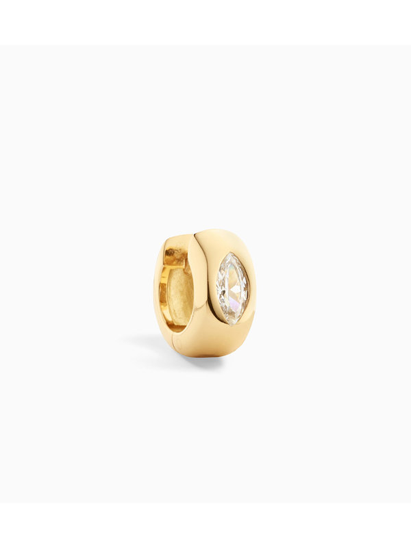 Eline Rosina Single Marquise Dome Huggie Hoop Gold Plated