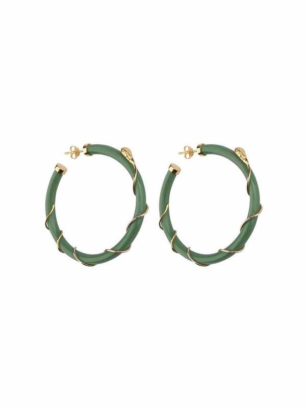 Betty Bogaers Resin Snake Hoop Earring Gold Plated Green