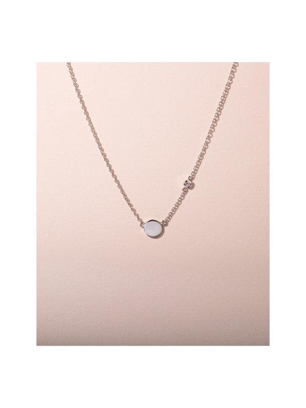 Galore Circle & Diamond Necklace Silver