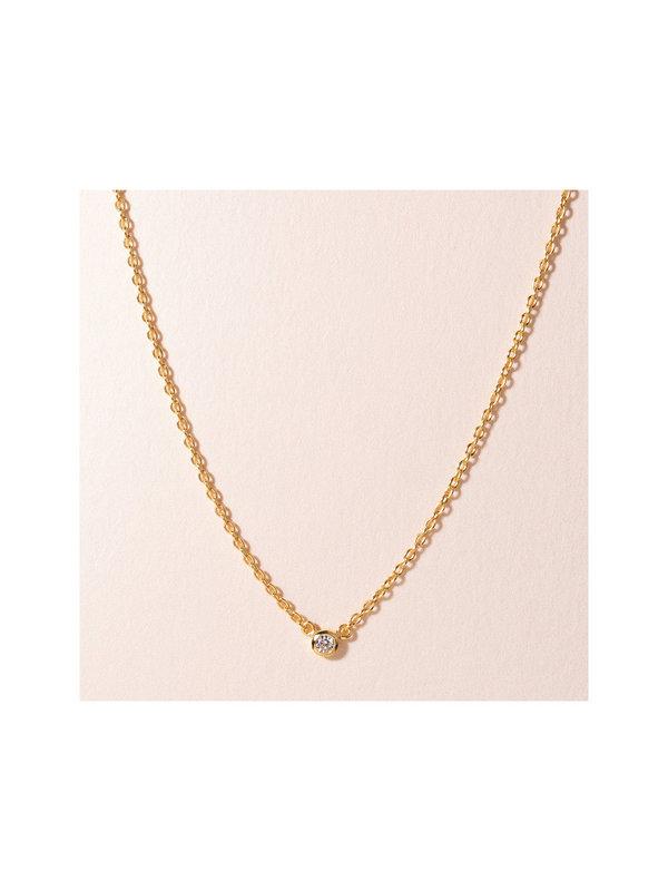 Galore Single Diamond Necklace Gold Plated