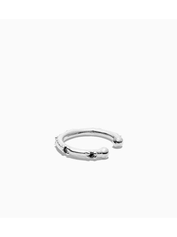 Eline Rosina Black Zirconia Ear Cuff Silver