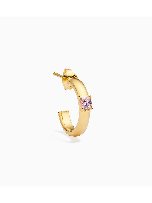 Eline Rosina Single Pink Celia Hoop Gold Plated