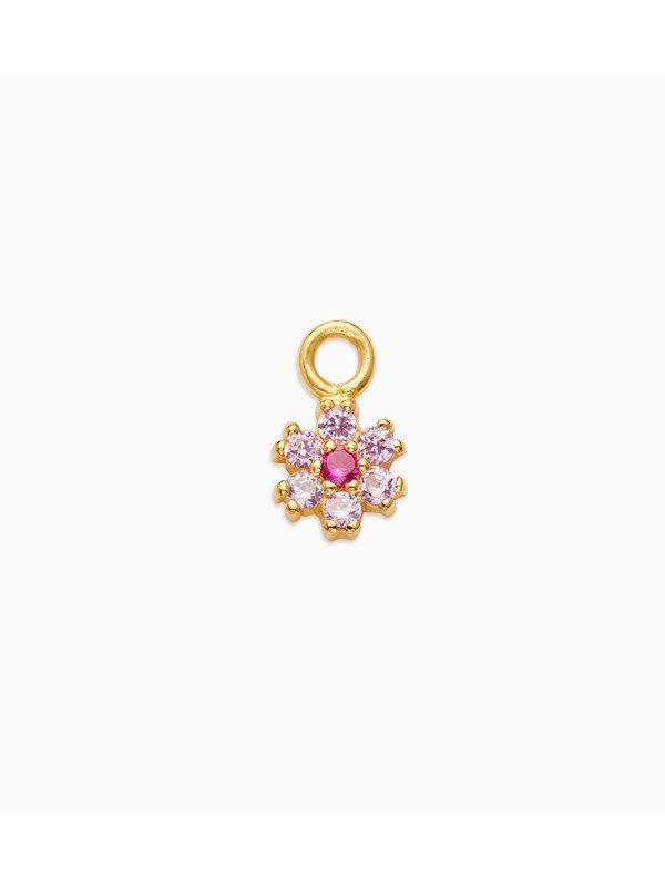 Eline Rosina Mix & Match Single Pink Bloom Pendant Gold Plated