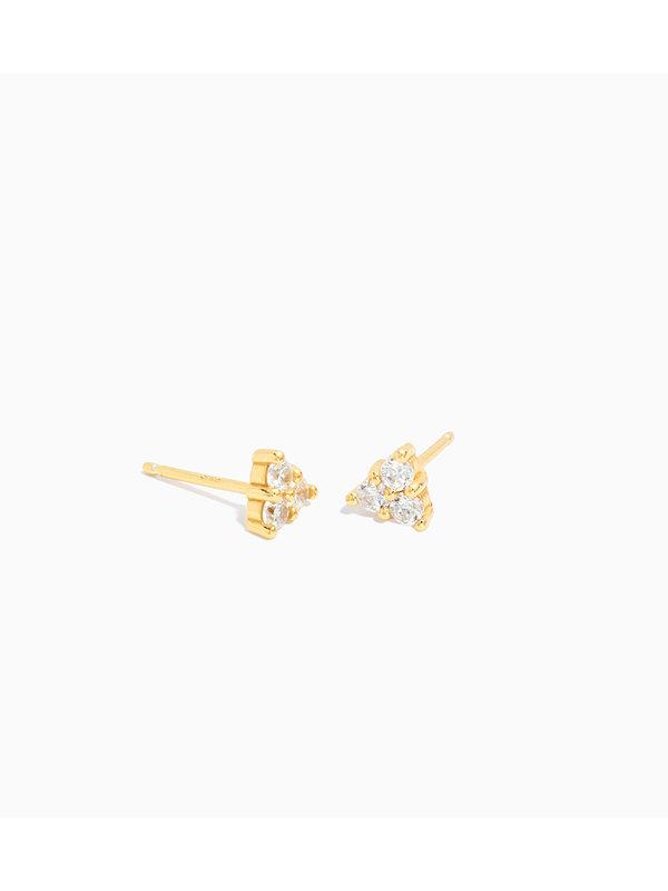 Eline Rosina Large Triangle Zirconia Earrings Gold Plated