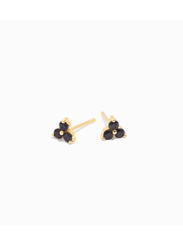 Eline Rosina Black Clover Earrings Gold Plated