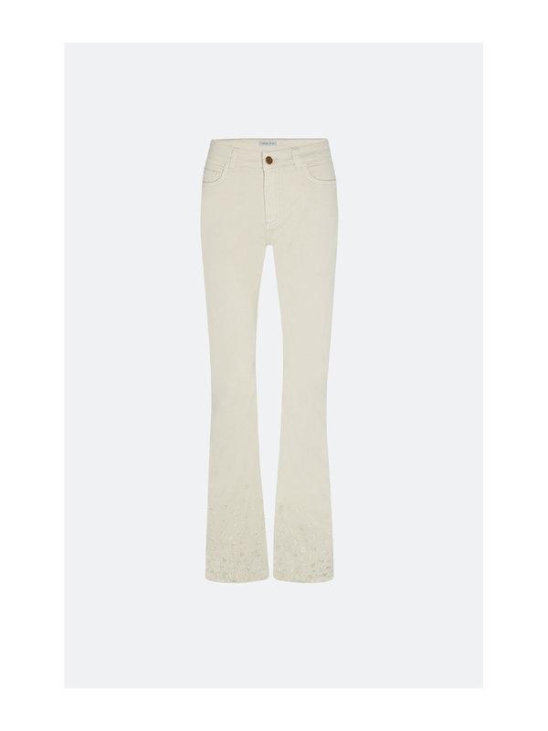 Fabienne Chapot Eva Solid Flare Embro Trousers Cream White