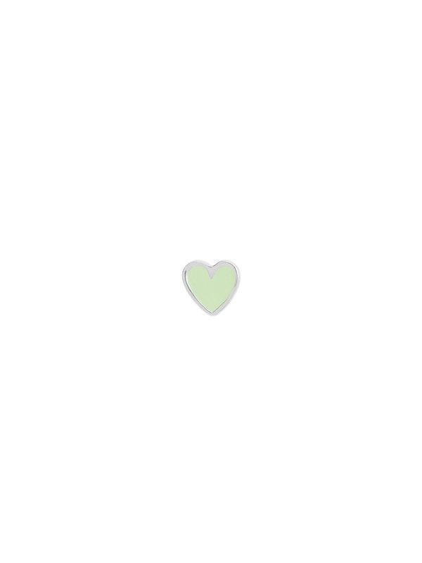 Stine A Petit Love Heart Mint Green Enamel Silver