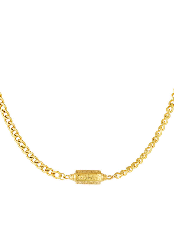 By Sara Collection Ketting Pendant Badass Gold