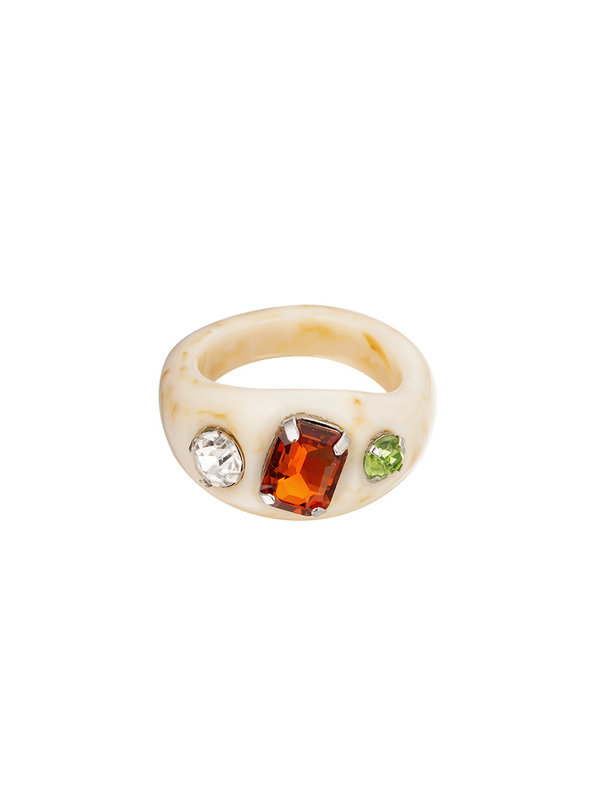 By Sara Collection Off White Ring Met Stenen