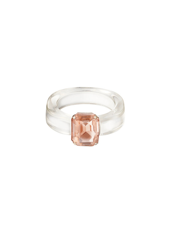By Sara Collection Witte Transparante Ring met Roze Steen