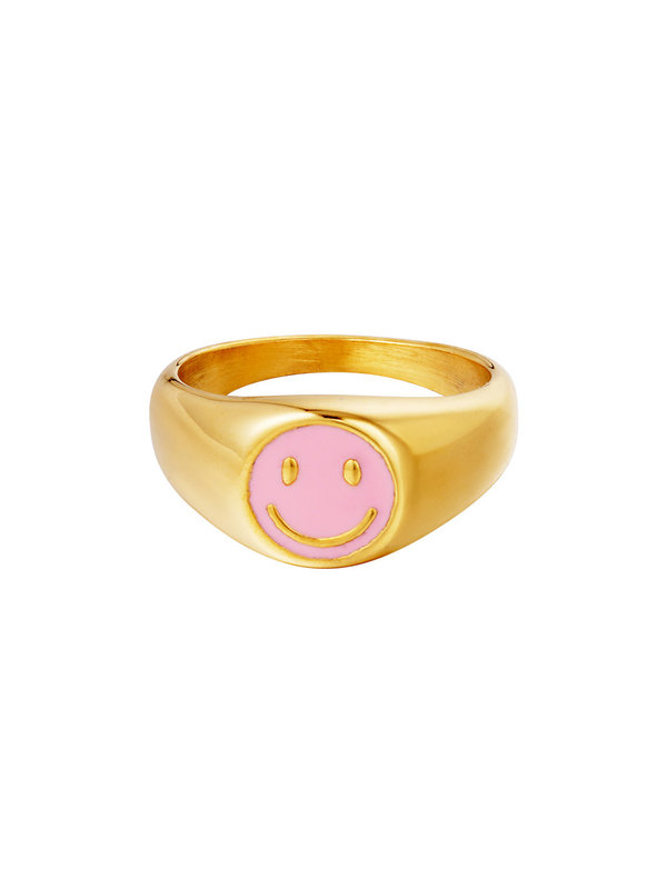 By Sara Collection Smiley Ring Roze