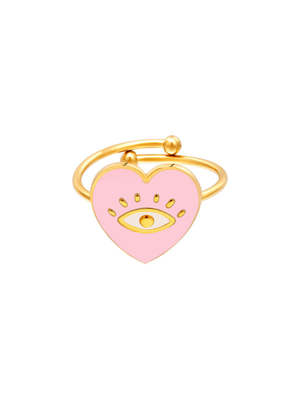 By Sara Collection Ring Eye in Heart Roze