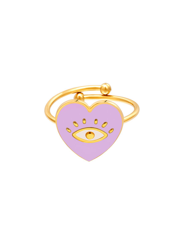 By Sara Collection Ring Eye In Heart Lila