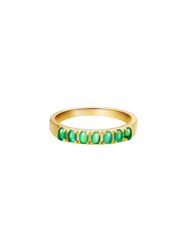 By Sara Collection Vintage Ring Goud Groene Steentjes
