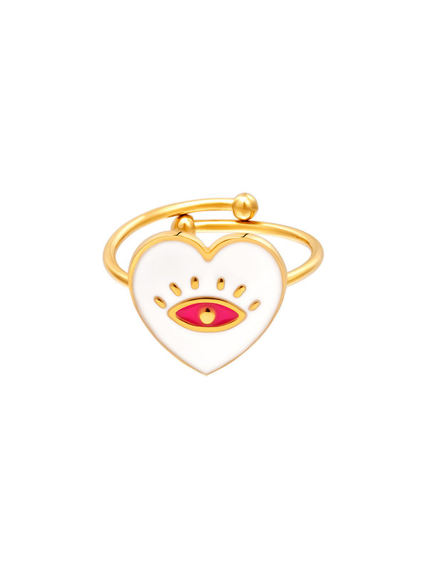 By Sara Collection Ring Eye in Heart Wit