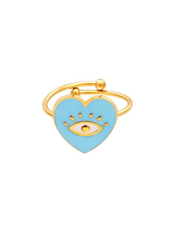 By Sara Collection Ring Eye in Heart Turquoise