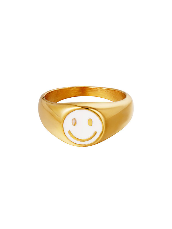 By Sara Collection Smiley Ring White