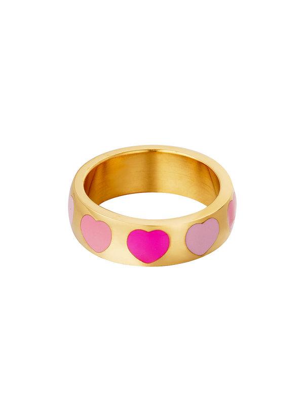 By Sara Collection Ring met Hartjes Rose Goud