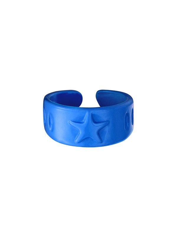 By Sara Collection Candy Ring Ster Blauw