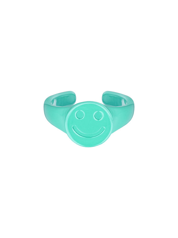 By Sara Collection Candy Ring Smiley Zeegroen