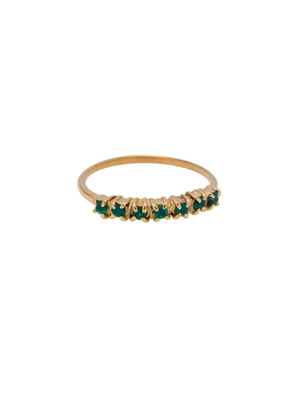 Xzota Ring Vintage Multi Green Zircon Brass